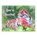 El aceo rosado del tigre invita invitación 10,8 x 13,9 cm