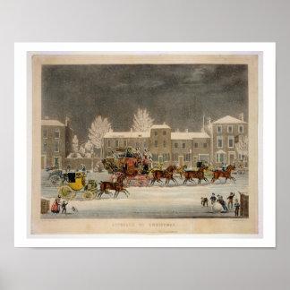 El acercamiento al navidad, grabado por la caza de póster
