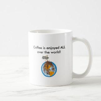 ¡el acoffee, café se goza por todo el mundo! taza básica blanca
