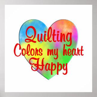 El acolchar colorea mi corazón feliz póster