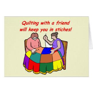 El acolchar con un amigo tarjeta pequeña