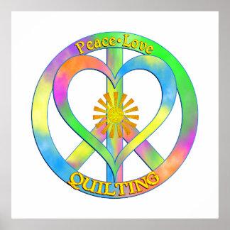 El acolchar del amor de la paz póster