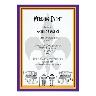 """El acontecimiento del boda de New Orleans invita Invitación 5"""" X 7"""""""
