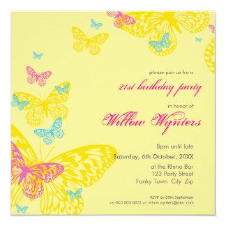 """EL ACONTECIMIENTO ESPECIAL INVITA:: mariposas 6SQ Invitación 5.25"""" X 5.25"""""""