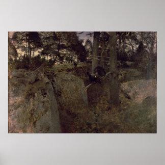 El acoplamiento de los urogallos, 1888 póster