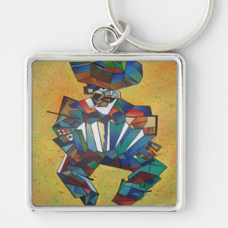 El acordeonista llavero cuadrado plateado