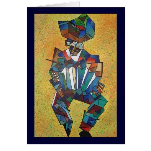 El acordeonista tarjeta de felicitación