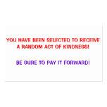 El acto al azar de la amabilidad, le paga tarjetas tarjeta de visita