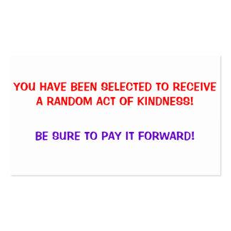 El acto al azar de la amabilidad, le paga tarjetas tarjetas de visita
