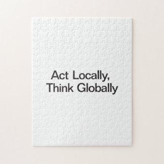 El acto localmente piensa global puzzles con fotos