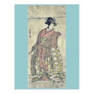El actor Segawa Kikunojo por Katsukawa, Shunsho Re Postales