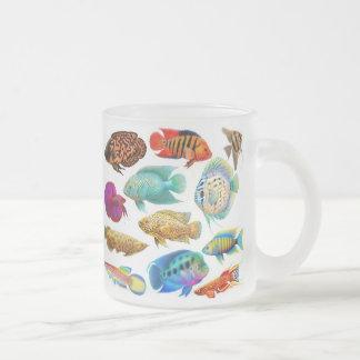 El acuario de agua dulce pesca la taza