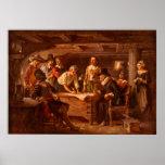 El acuerdo de Mayflower de Jean León Gerome Ferris Poster