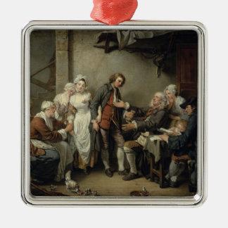 El acuerdo del pueblo, 1761 adorno cuadrado plateado