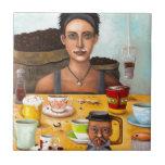 El adicto al café azulejo cerámica