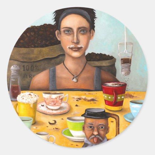 El adicto al café etiquetas redondas