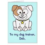 El adiestrador de perros le agradece tarjeta adapt