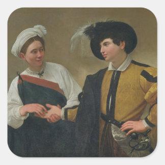 El adivino (La Buona Ventura), c.1594 Pegatina Cuadrada
