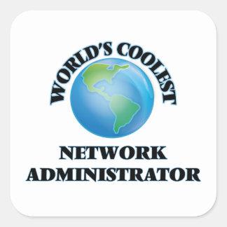 El administrador de la red más fresco del mundo pegatina cuadradas