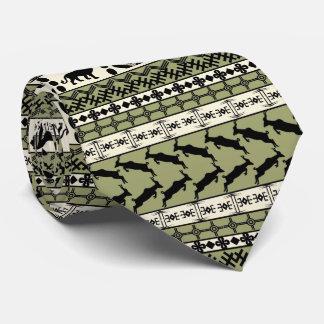 El adorno de Aftrican, león, rayas, verde, sirvió Corbata Personalizada