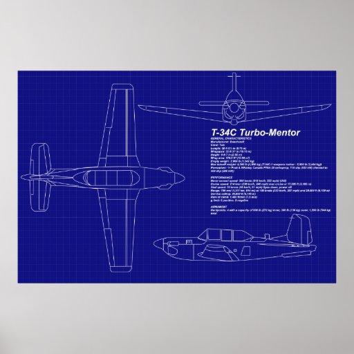 El aeroplano Blueprints al mentor del   T-34 C Póster