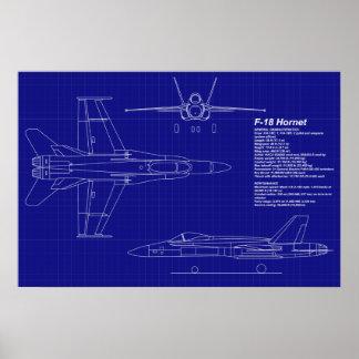 El aeroplano Blueprints el avispón F-18 del   Póster