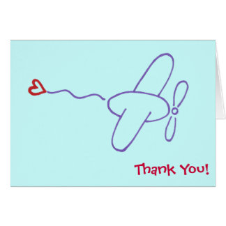 El aeroplano con el corazón le agradece observar tarjeta