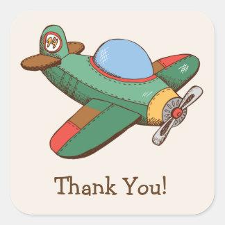 El aeroplano del juguete del vintage le agradece pegatina cuadrada