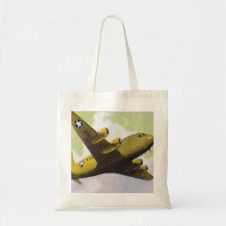 El aeroplano retro del kitsch del vintage acepilla bolsa tela barata