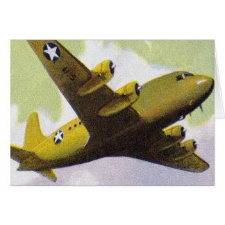 El aeroplano retro del kitsch del vintage acepilla tarjeta de felicitación