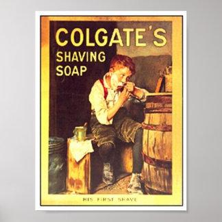 El afeitar del muchacho del jabón de afeitar de Co Impresiones