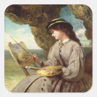 El aficionado justo, 1862 pegatina cuadrada