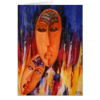 El africano abstracto de la pasión enmascara la tarjeta de felicitación