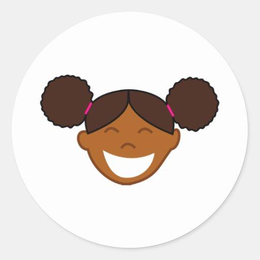 El Afro sopla cara del chica Pegatinas Redondas