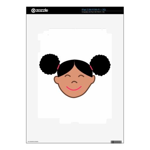El Afro sopla cara del chica Calcomanías Para iPad 2