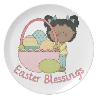 El afroamericano adorable Pascua embroma tarjetas Plato Para Fiesta