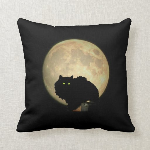 El agacharse de la Luna Llena felino Almohada