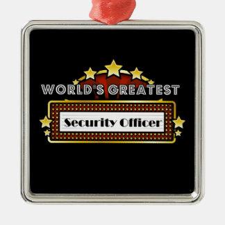 El agente de seguridad más grande del mundo adorno cuadrado plateado