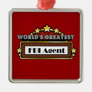 El agente del FBI más grande del mundo Adorno Navideño Cuadrado De Metal