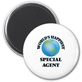 El agente especial más feliz del mundo imán redondo 5 cm