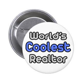 El agente inmobiliario más fresco del mundo pin redondo de 2 pulgadas