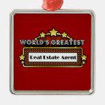 El agente inmobiliario más grande del mundo adorno navideño cuadrado de metal