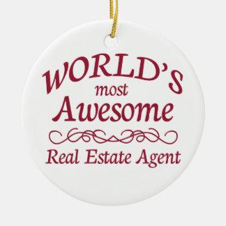 El agente inmobiliario más impresionante del mundo adorno navideño redondo de cerámica