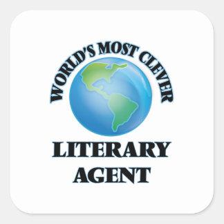El agente literario más listo del mundo calcomanía cuadrada personalizada