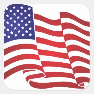 El agitar de la bandera de los E.E.U.U. Colcomania Cuadrada