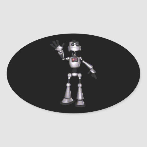 el agitar de semitono del individuo del robot de pegatina ovalada