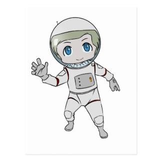 El agitar del astronauta del dibujo animado tarjeta postal