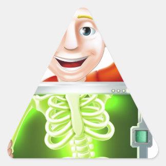 El agitar del hombre de la radiografía calcomania de triangulo personalizadas