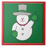 El agitar del muñeco de nieve azulejo ceramica