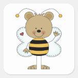 el agitar lindo manosea el oso de la abeja calcomanías cuadradass personalizadas